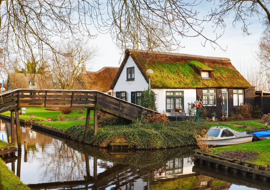 Typical view on Canal,  Giethoorn, Netherlands.
