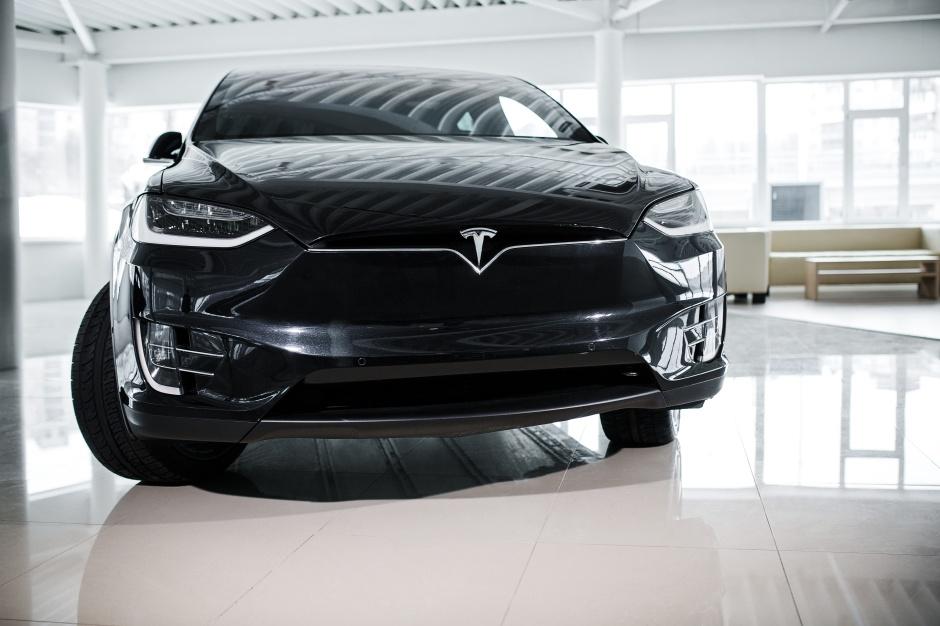 Tesla New-generation Electric Car of Dark Brown Indoor